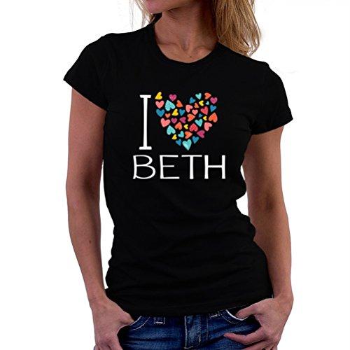 感性仮装クレジットI love Beth colorful hearts 女性の Tシャツ