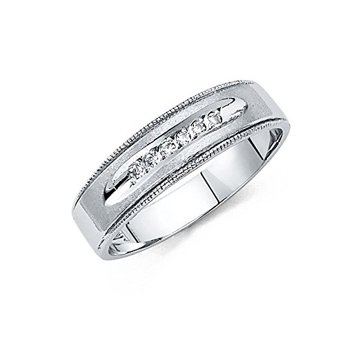 TWJC 14k White Gold SOLID Mens and Wedding Band