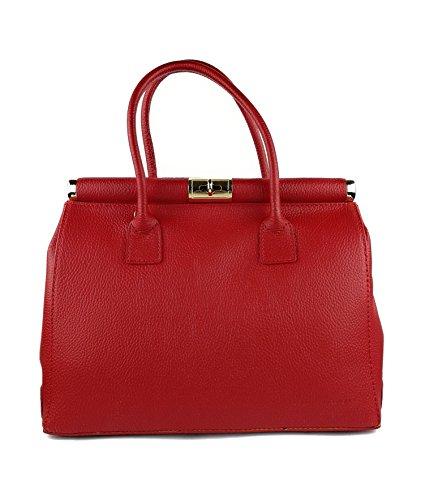 Zerimar Leder-Umhängetasche für Damen Große Umhängetasche aus weichem Leder handtasche aus echtem leder Größe 35x22x16 cm. Rot