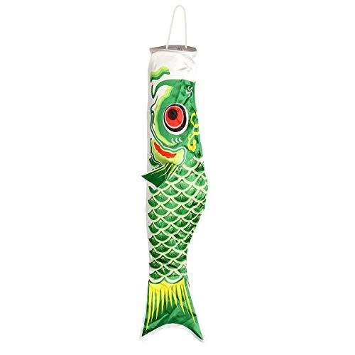 100cm Koi Nobori Carp Wind Sock Koinobori Fish Kite Flag Hanging Decor - Learning & Education Plane & Parachute Toys - (Green) - 1x Japanese Koinobori