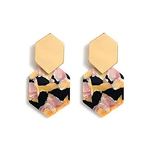 Acrylic Resin Hoop Earrings - Tortoise Shell Earrings for Women Boho Jewelry, Great for Sister, Friends, Mom (pink flower)