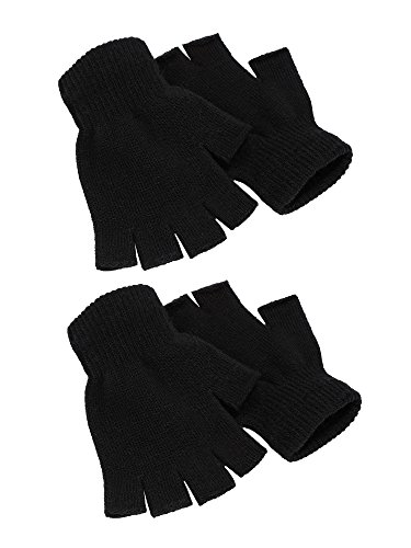 Satinior 2 Pair Black Half Finger Gloves Unisex Winter Stretchy Knit Fingerless Gloves, Common (Standard Knit Glove)