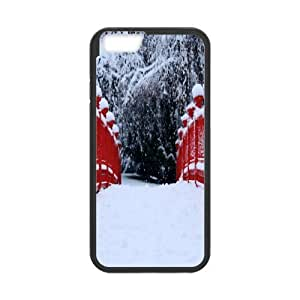 Yearinspace Art bridge in the forest iPhone 6 Cases red japanese bridge winter For Girls Protective, Case For Iphone 6 4.7 Luxury, {Black}