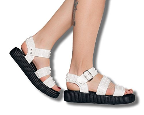 Sandal u Limited White Studded T k Buckle Shoes Edition Women's z1SnxCwdqn