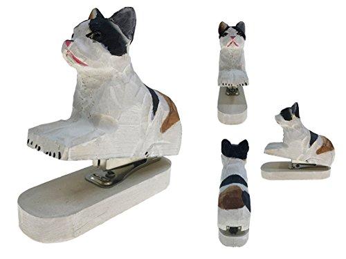 Vivid Handmade Wood Carving Cartoon Mini Animal Stapler for School Office Stationery Children Christmas Gift(White Cat) by Alrsodl