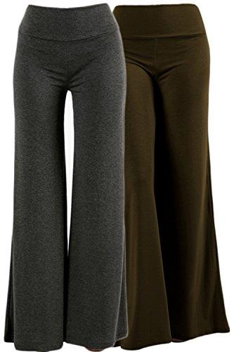ViiViiKay Women's Maternity Wear Fold-Over Waist Wide Leg Stretchy Palazzo Pants 79P-S2 CHARDKOL L
