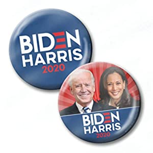 Biden Harris 2020 2-Pack Buttons – Modern Campaign Photo Convention Pins 2-1/4 Inch Designs 8718