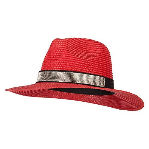 (Ladies Paper Straw Rhinestone Band Panama Fedora Hat - Red OSFM)