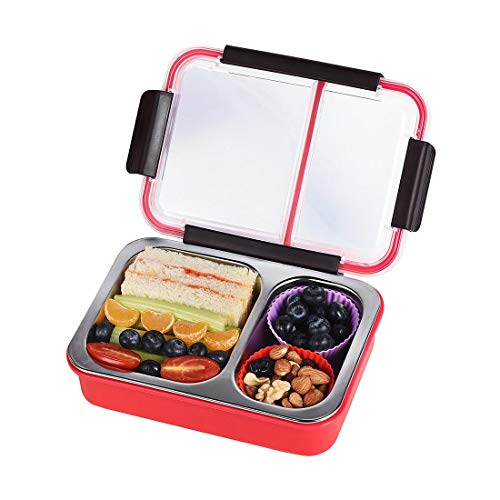 Bento Box 2 Compartments Stainless Steel Lunch Box for Adults and Kids, Portion Control Lunch Containers Leakproof, BPA Free - ()