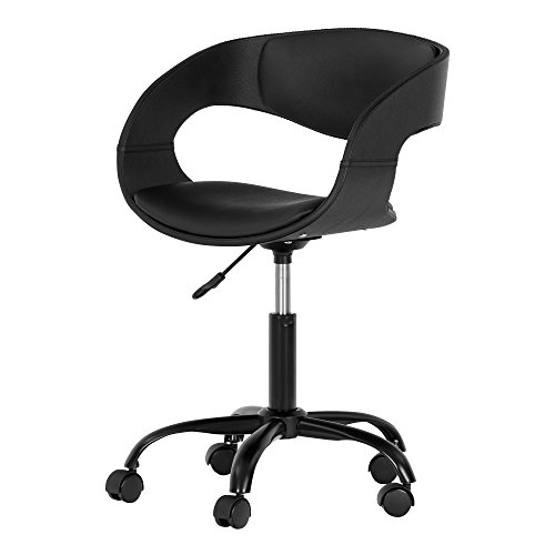 South Shore Annexe Home Office Faux-Leather Adjustable Height Chair on Wheels, Black