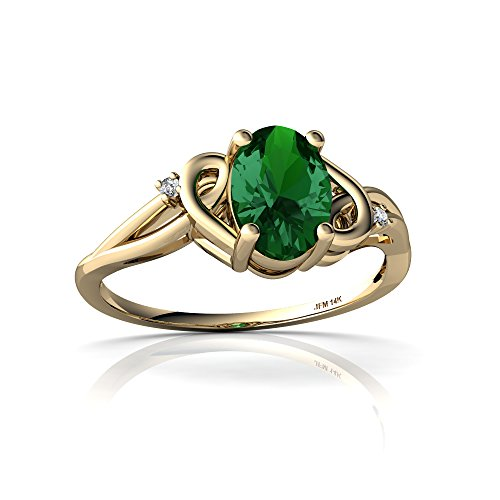 14kt Yellow Gold Lab Emerald and Diamond 7x5mm Oval Swirls Ring - Size 9 14kt Gold 9x7 Emerald