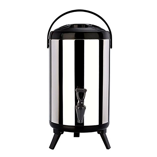 Stainless Steel Insulated Barrel Double Walled 1.59 Gallon Beverage Dispenser with Spigot for Hot Water Milk Tea Coffee Juice,Home Party -