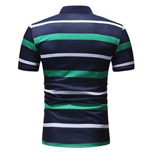 774d3d6eaa vermers Mens Fashion Polo Shirts Summer Casual Buttons Striped Short Sleeve  T Shirt(M,