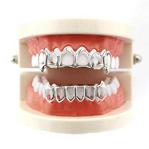 Hot Sale!OWMEOT New Custom Fit 14k Gold Plated Hip Hop Teeth Grillz Caps Top & Bottom Grill Set (Silver) -