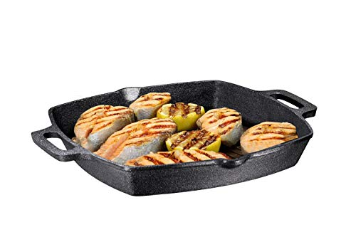 (13 Inch Square Cast Iron Grill Pan Steak Pan Pre-seasoned Grill Pan with Easy Grease Drain Spout, with Large Loop Handles with Easy Grease Draining for Grilling Bacon, Steak, and Meats.)