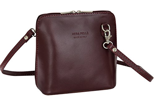AMBRA Moda Bolso de hombro Mujer - Bolsos bandolera de cuero pequeño VL508 Bordeaux weinrot