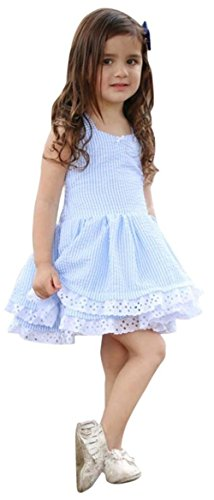 - Happy Town Toddler Baby Girls Floral Dress Party Ball Gown Lace Formal Dresses Sundress (Blue, 2-3 T)