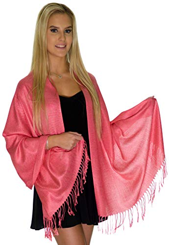 Pashmina Shawls and Wraps - Large Scarfs for Women - Party Bridal Long Fashion Shawl Wrap with Fringe by Petal Rose (Pink Fuchsia) (Pink Floral Cream)