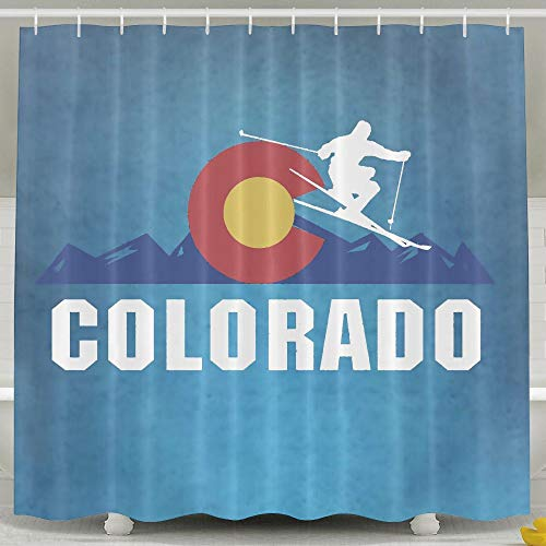 Huangwei Colorado Skiing Sign Shower Curtain Waterproof Polyester Fabric Bath Curtain 36