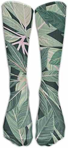 3521737360b Women s Leaf Casual Knee Socks 19 Inches Long Elasticity Calf Tube Socks