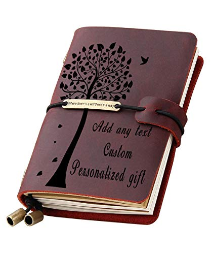 Personalized Journal Genuine Leather Travel Notebook Custom Engraved Refillable Writing Notepads Personal Diary Gift for Men Women Teens Travelers Students (Wine, 5.3