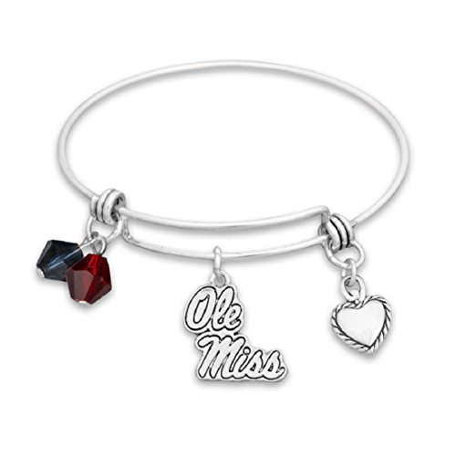 FTH Silver Tone Wire Bracelet with Ole Miss Charm and Colors