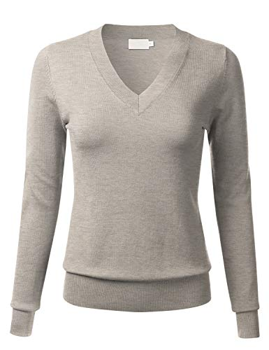 4ba459a8a3 FLORIA Women s Soft Basic Thick V-Neck Pullover Long Sleeve Knit Sweater (S-