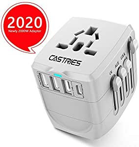 Castries Universal Travel Adapter All-in-one Travel Charger Worldwide Travel Socket International Power Adapter with 3USB +1 Type C Ports AC Plug Adapter Travel Accessories for Over 150 Countries-Grey
