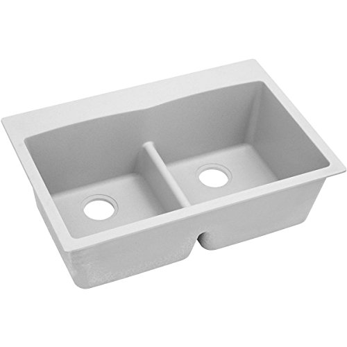 Elkay Quartz Classic ELGDLB3322WH0 White Equal Double Bowl Drop-In Sink with Aqua Divide by Elkay (Image #2)