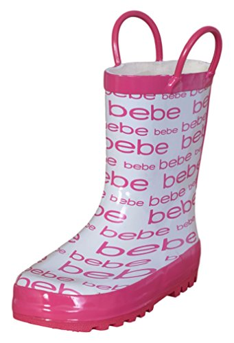 bebe Girls Waterproof Rainboots With Easy On Handles, White and Fuchsia, Size 11/12'