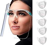 Paquete de 10 Caretas Faciales Protectoras de Ojos, Nariz y Boca con Cómoda Forma de Lentes, Totalmente Transp