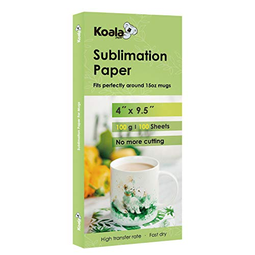 Koala Sublimation Heat Transfer Paper 4x9.5 Inch for Inkjet Printer Compatible with Sublimation Ink 100 Sheets 100gsm