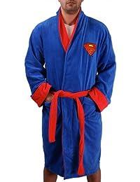 Superman Adult Terry Cloth Hooded Bath Robe (Blue w/Red Logo)