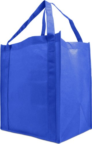Recycled Grocery Totes (Reusable Reinforced Handle Grocery Tote Bag Large 10 Pack - Royal Blue)
