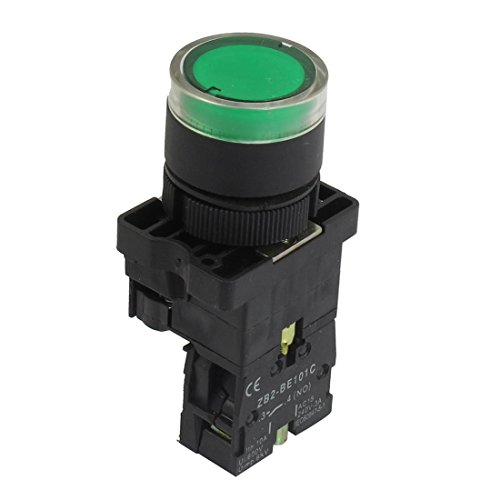 Baomain Push button Switch ZB2-BE101C 22mm NO Green Illuminated Light Momentary AC - Push Button Illuminated Green