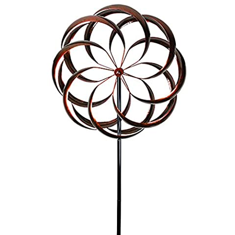 Flower Wind Spinner Kinetic Art Decorative Garden Stake, Outdoor Dual Motion Double Spiral Metal Lawn Ornament, Bronze Powder Coated Yard - Kinetic Metal Sculpture