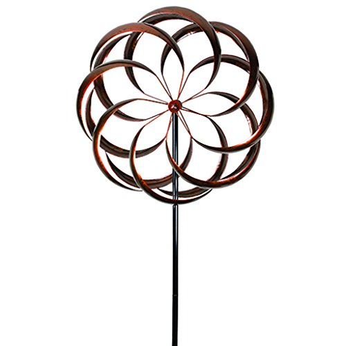 UDL Flower Wind Spinner Kinetic Art Decorative Garden Stake, Outdoor Dual Motion Double Spiral Metal Lawn Ornament, Bronze Powder Coated Yard Sculpture