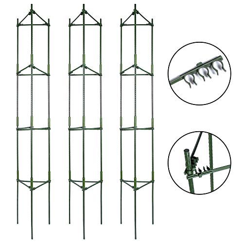 K-Brands Tomato Cage - Plant Stakes and Support with Clips (3 Pack - Upto 72 inches ()