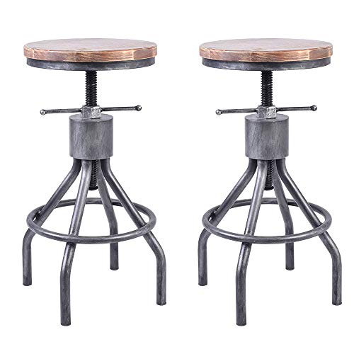 VINTAGELIVING Set of 2 Industrial Bar Stool-Vintage Counter Dining Chair-Swivel Stools-Tall Height Adjustable 22-30