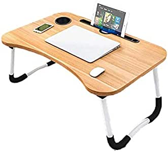 Folding Bed Laptop Table Tray Lap Desk Notebook Stand with ipad Holder Cup Slot Adjustable Anti Slip Legs Foldable for Indoor Outdoor Camping Study Eating Reading Watch Movies on Couch Sofa Floor