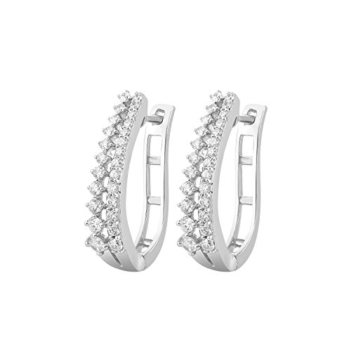 3/4 Ct Round Cut Genuine Diamond 14k White Gold 2 Row Hoop Huggie Earrings -