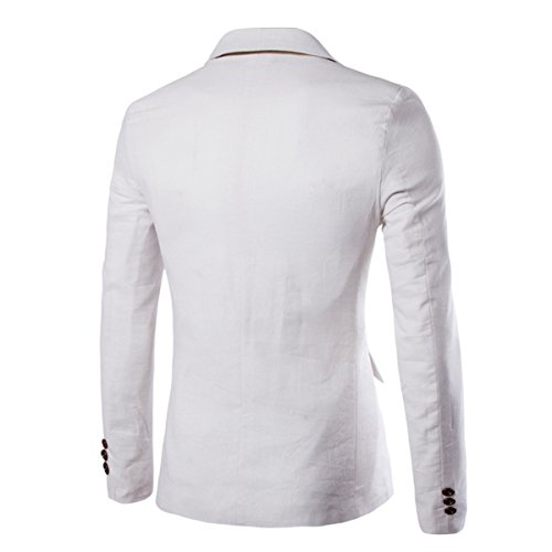 Pishon Men's Linen Blazer Lightweight Casual Solid One Button Slim Fit Sport Coat, White, Tag Size XXXL=US Size L by Pishon (Image #3)