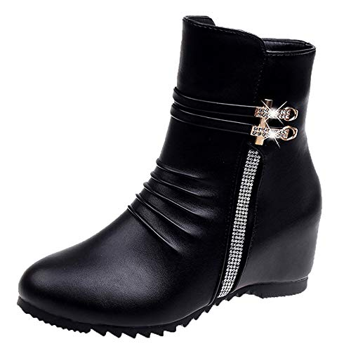 COPPEN Christmas Women Boot Leather Round Toe Wedges Zipper Snow Shoes ()