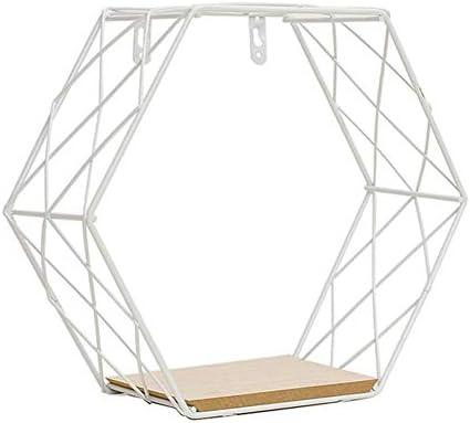 Fablcrew Wandrek zeshoekig met ijzeren rooster wandrek zeshoekig metaal geschikt voor woonkamer eetkamer slaapkamer kantoor bar