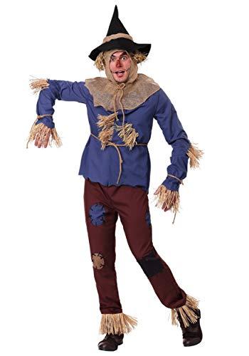 Adult Patchwork Scarecrow Costume Medium Blue -