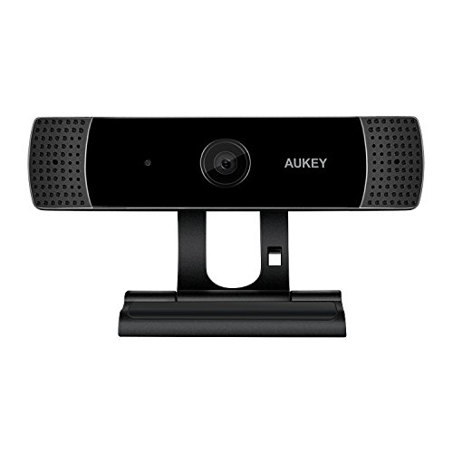 (AUKEY FHD Webcam, 1080p Live Streaming Camera with Stereo Microphone, Desktop or Laptop USB Webcam for Widescreen Video Calling and Recording)