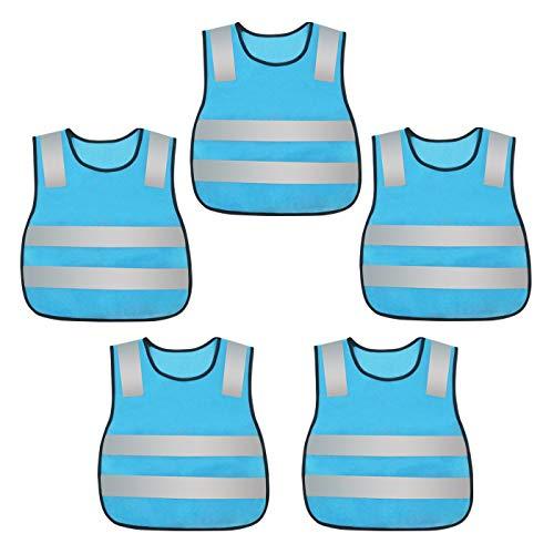 Kids Reflective Safety Vest High Visibility Lightweight Vest Security Construction Vest Breathable Running Vest Traffic Mesh Vest Neon Blue for Boys and Girls 5PCS