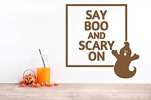 Profit Decal Say Boo and Scary On Ghost Cute Halloween Art Saying Letters Wall Decals Decor Vinyl Sticker Q6387]()