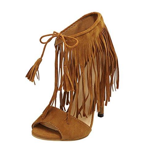 HKFV Damen Frauen Schnalle Quaste Damen Ankle High Heels Party Singel Schuhe Tassel Knöchelriemen wies High Heels Damenschuhe Brown