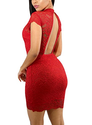GOSOPIN Women Elegant Lace Short Sleeve Sexy Backless Mini Dress